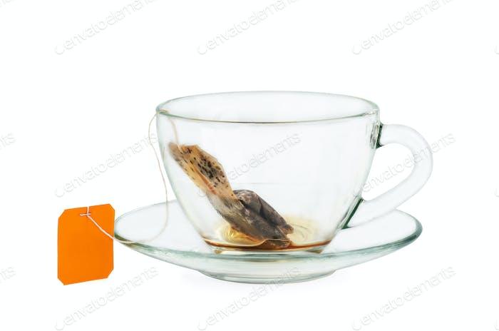 Black tea teabag in empty cup