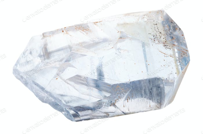 piece of celestine crystals isolated