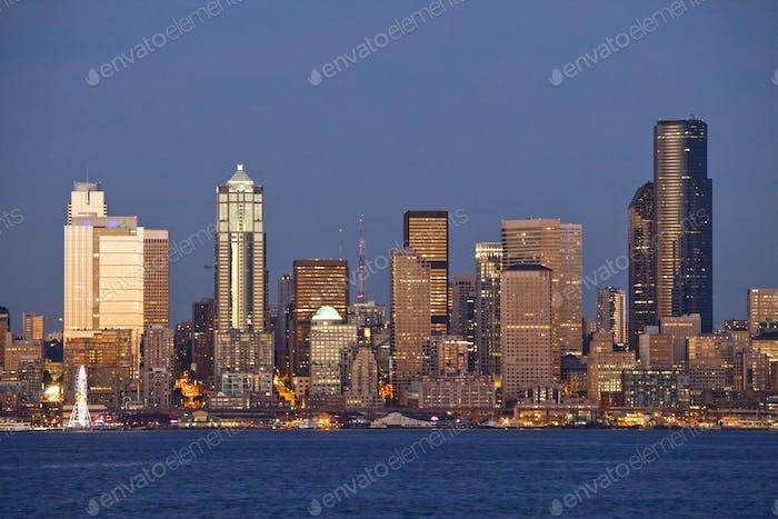 Seattle city skyline on waterfront, Washington, United States
