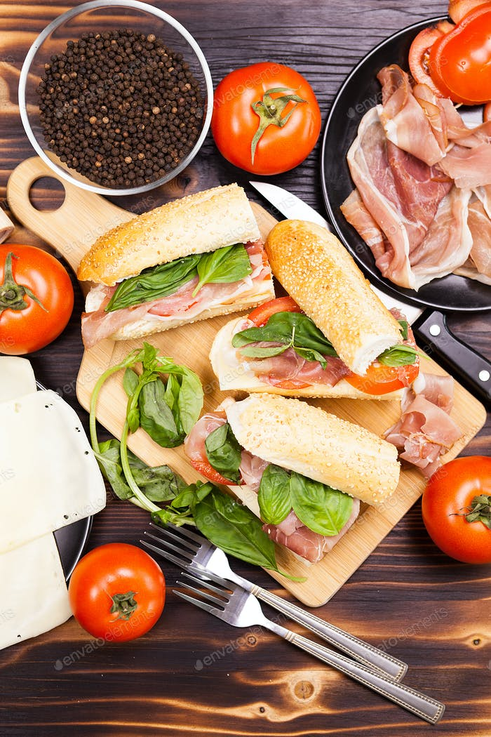 Over top view on healthy delicious home mande sandwiches