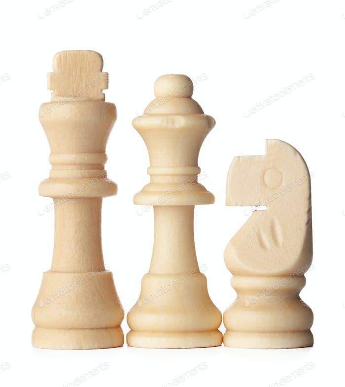 White chess piece isolated on white background