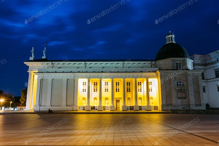 Vilnius, Lithuania. Night Or Evening View OF Cathedral Basilica