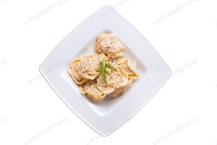 Dumplings in a white plate