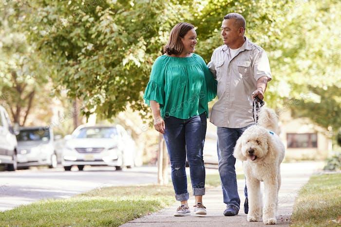 Senior Paar Walking Hund entlang Suburban Street