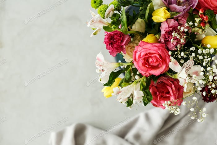 Top view of a colorful bouquet of beautiful flowers in the corne