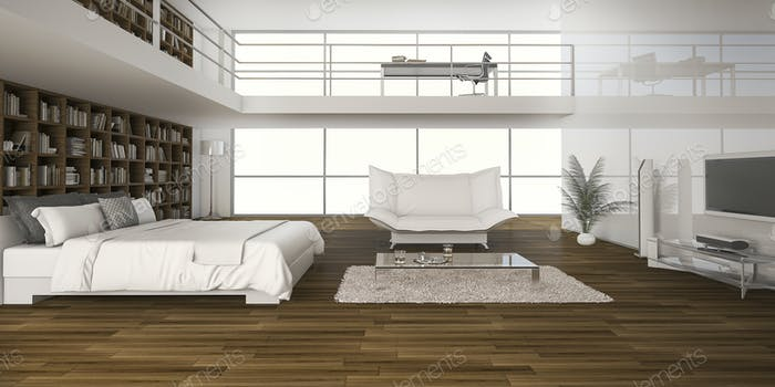 3D Rendering Eichenholzboden mit Bett im Doppel-Raum Boden