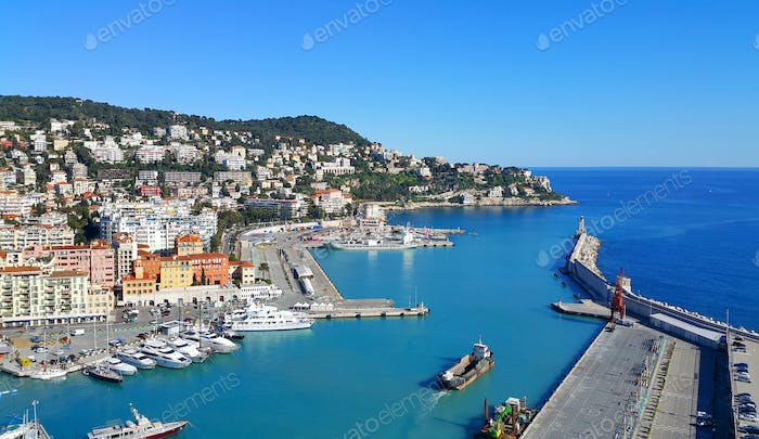 City and Port of Nice in France