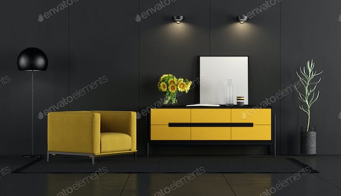 Black and yellow room with armchair and sideboard