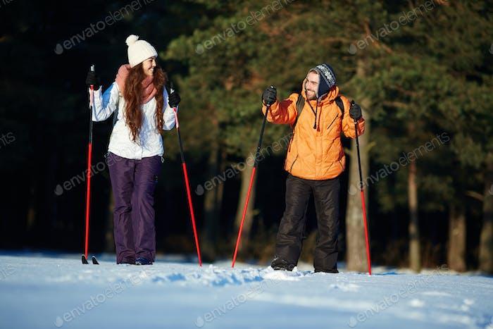 Skiing at resort