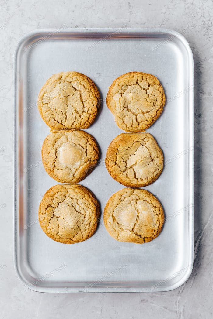 White Chocolate and Macadamia Nut Cookies on Silver Tray