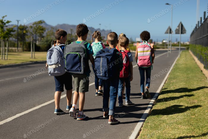 Group of elementary school pupils walking along a road