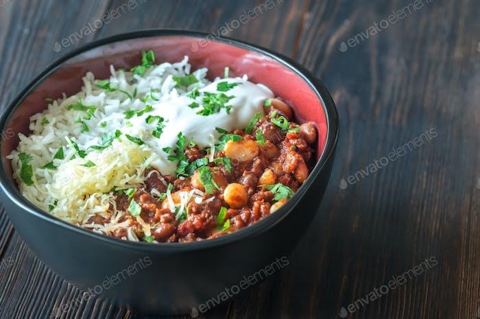 Bowl of chili con carne