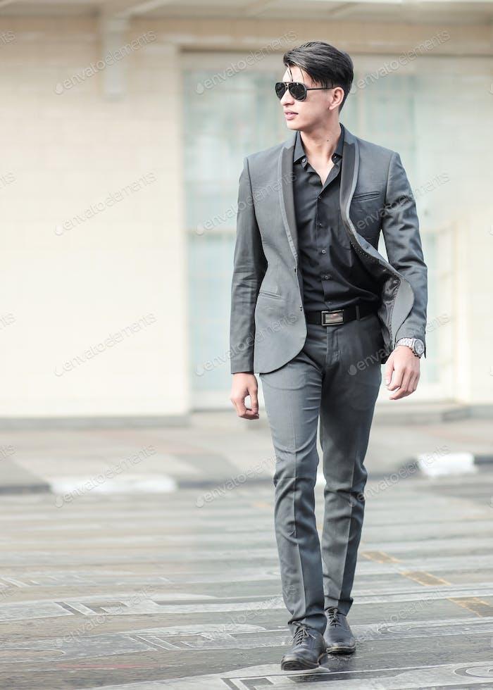 Asian Business Man Walking