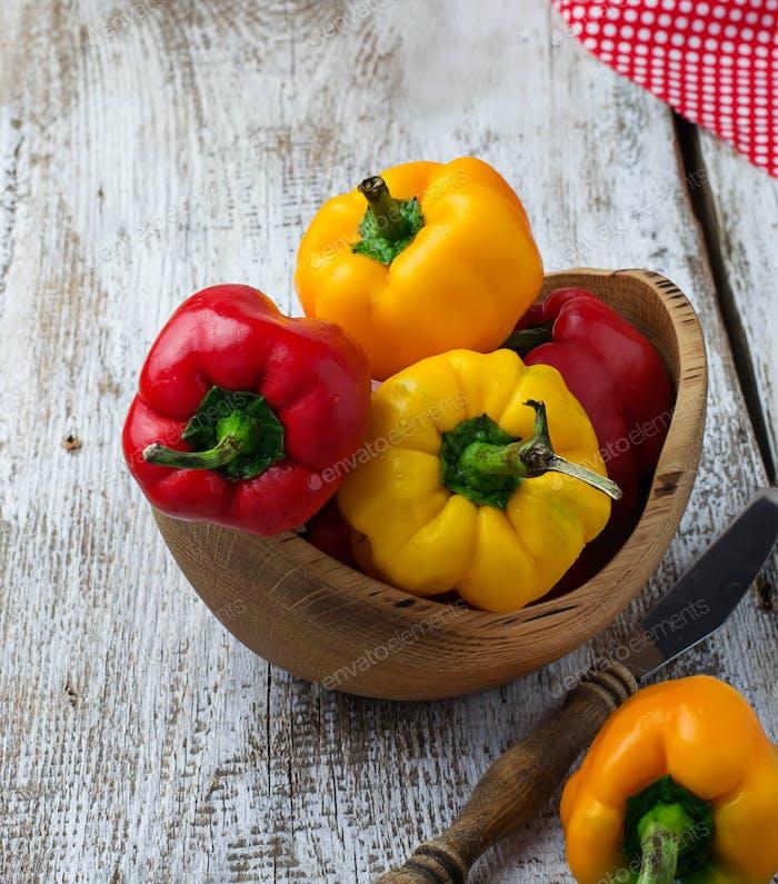 Fresh ripe red and yellow bulgarian pepper