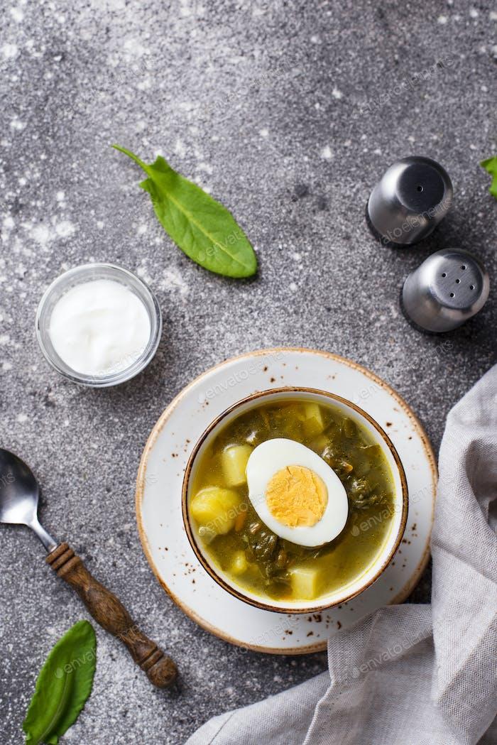 Sorrel soup or green borscht with eggs