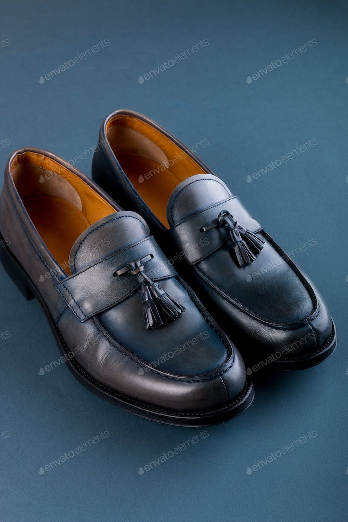Blue loafer shoes on blue background.