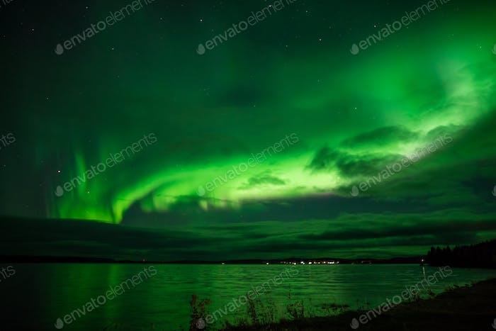 Aurora Borealis Above Lake