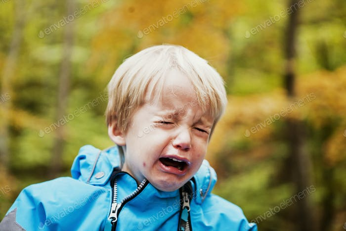 Close-up of boy crying in forest