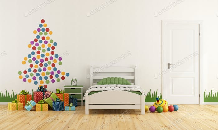 Child bedroom with christmas tree