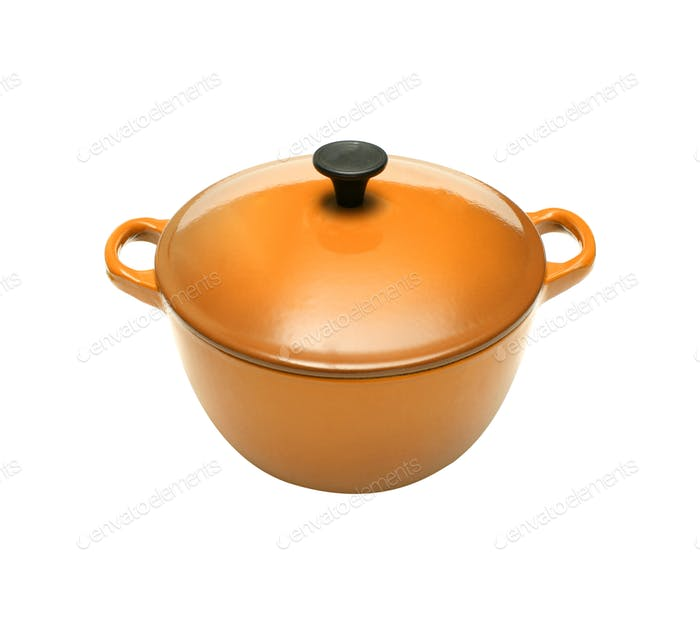 Orange casserole dish or crock pot