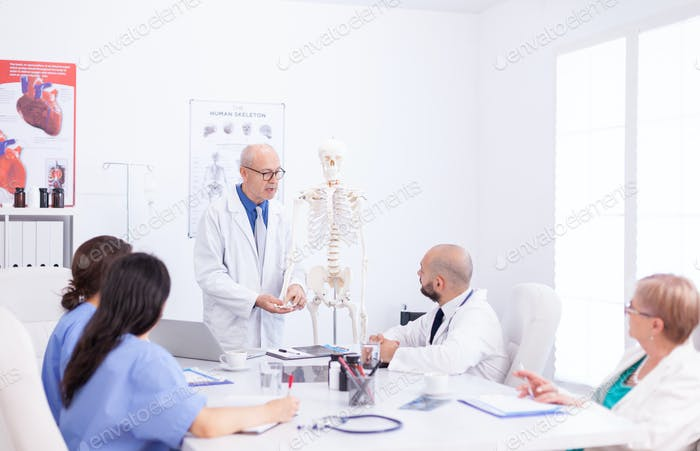 Healthcare physician holding presentation