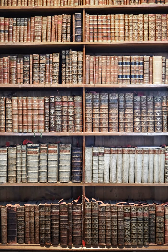 Old books in library museum on wooden shelves