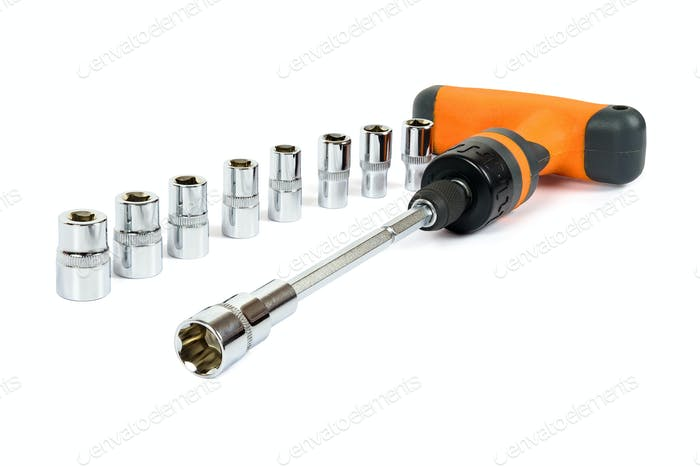 Socket spanner set on white background