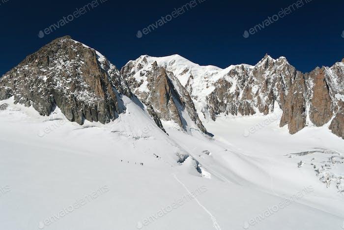 Mont Blanc and Mer de glace glacier