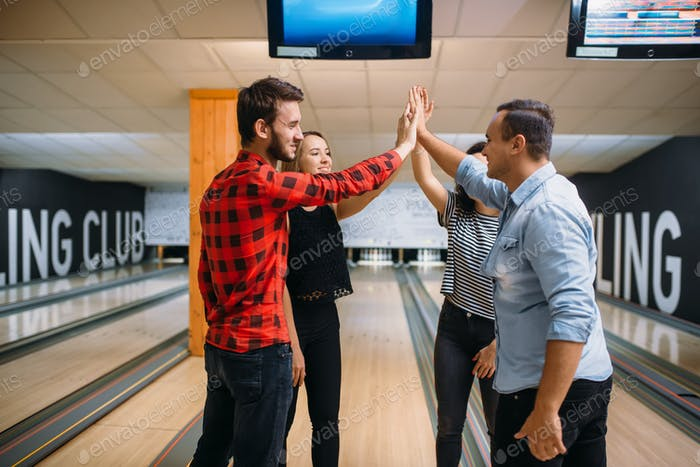 Bowling team joined hands before the competition