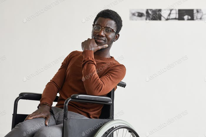 Handicapped African-American Man in Art Museum