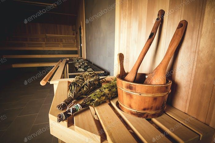 Sauna accessories detail bucket birch broom spoon