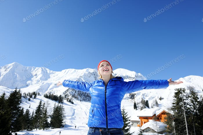 happy girl in mountains