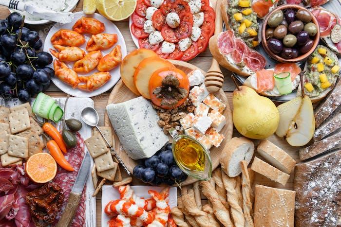 Italian antipasti snacks set