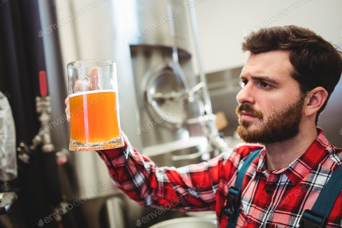 Manufacturer examining beer at brewery
