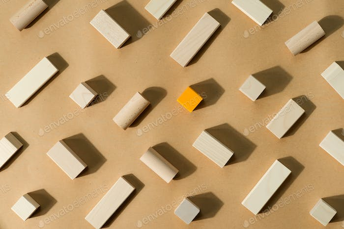 Constructor pattern from wooden blocks and cubes