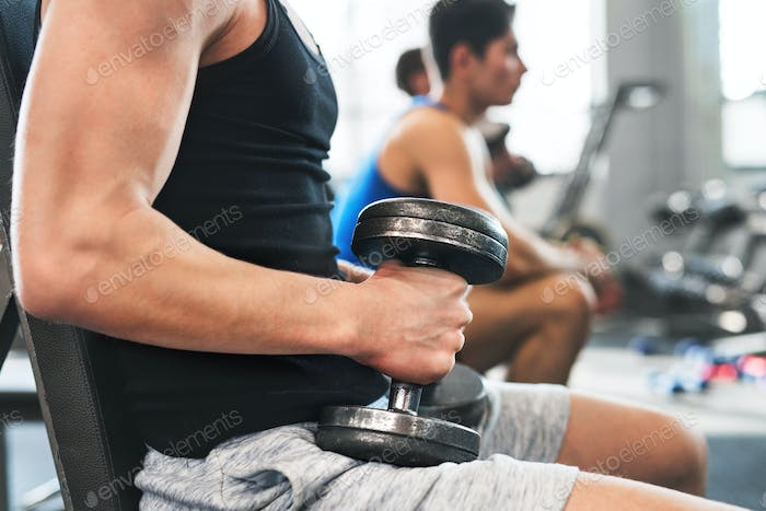Unrecognizable young fit men in gym exercising with dumbbells.