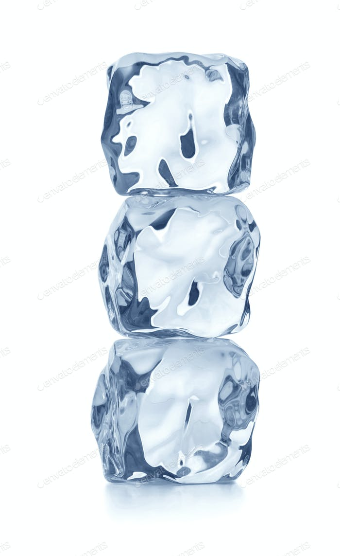 heap of blue ice cubes
