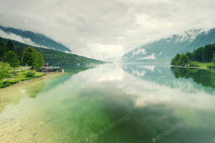 Beautiful calm and cristal clear lake water