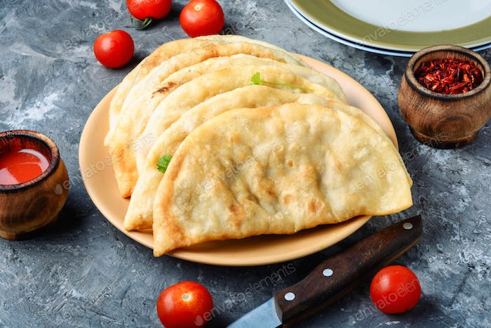 Cheburek,dough pie with meat filling