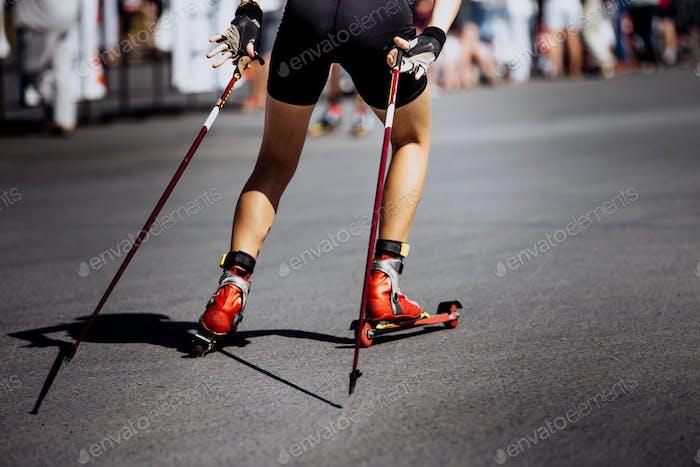 Girl Athlete in Ski-Roller