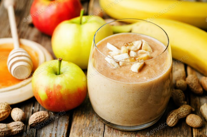 Apple banana peanut butter smoothie