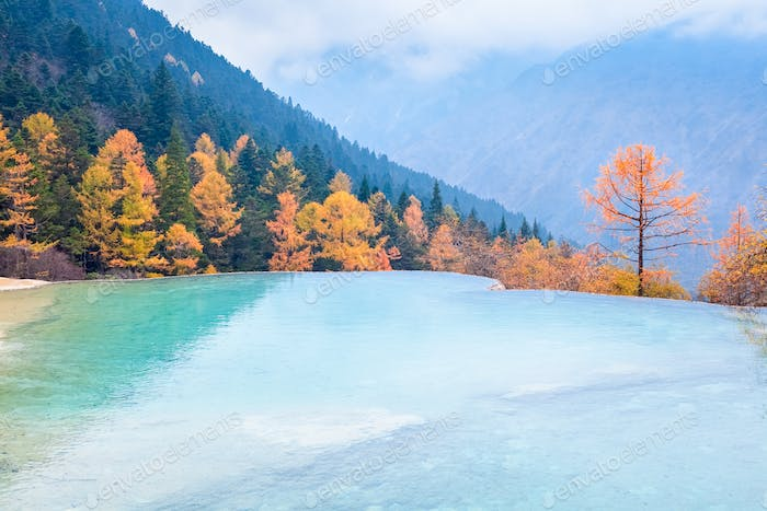beautiful huanglong autumn scenery in China