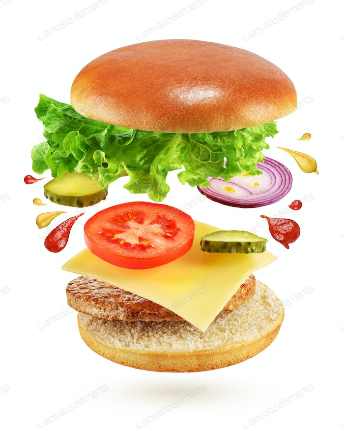 Flying burger isolated on white background
