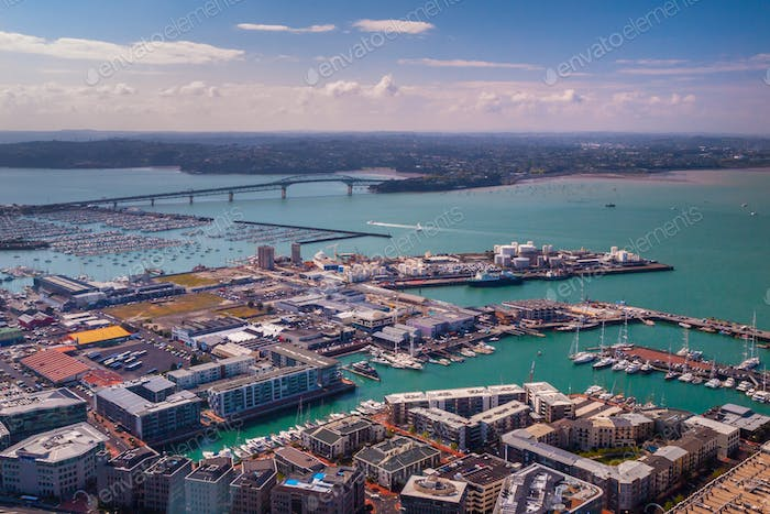 Auckland industrial harbor aerial view