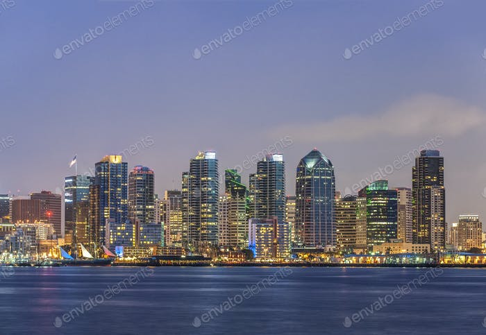 53978,City skyline lit up at night, San Diego, California, United States