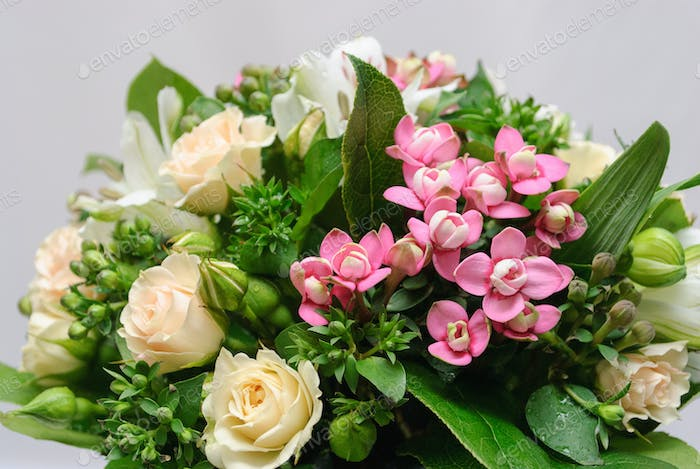 close up of greeting bouquet
