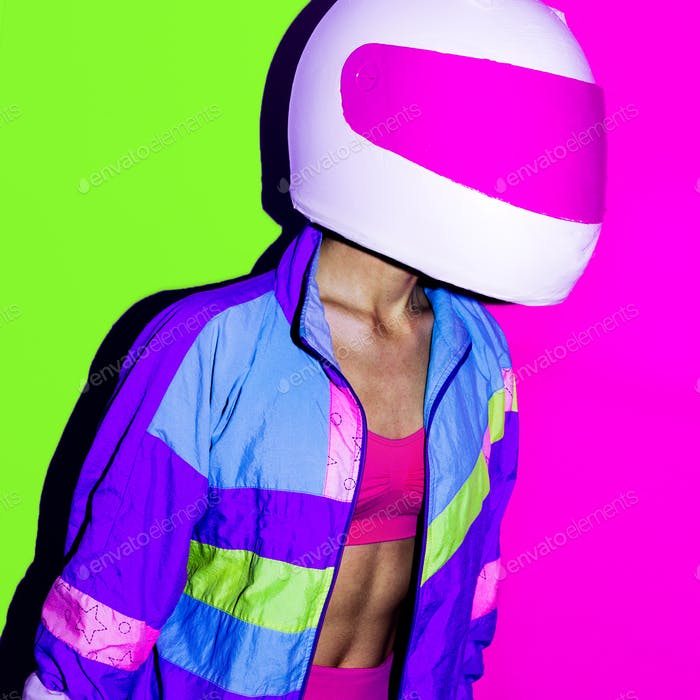 Disco and Moto. Girl in helmet. Minimal art.