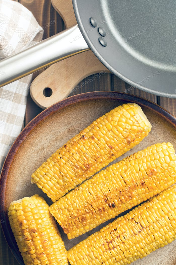roasted corn on plate