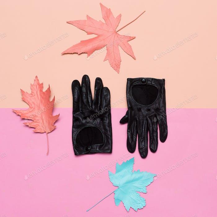 Fashionable leather gloves Spring vibration. Concept Minimal des