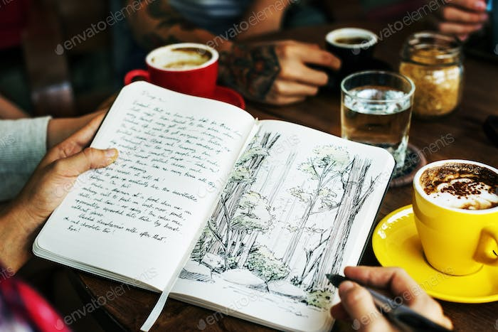 Drawing Forest Plant Coffee Cafe Creative Park Concept